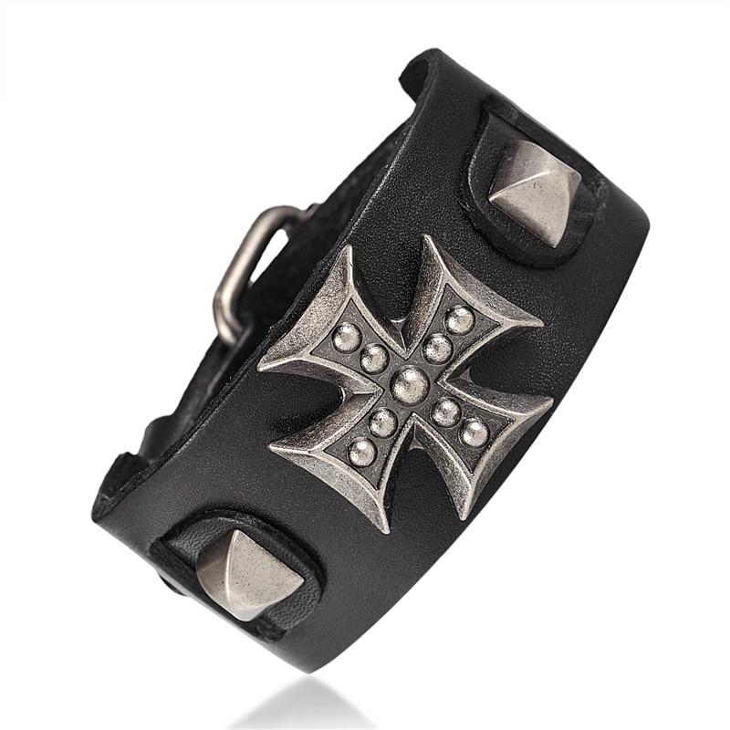 2017 Großhandel Leder Armbänder Männlichen Kreuz Retro Armband Homme Echtem Leder Armband Männer Frau Armbänder Armreifen Pulseira Kaufe Jetzt