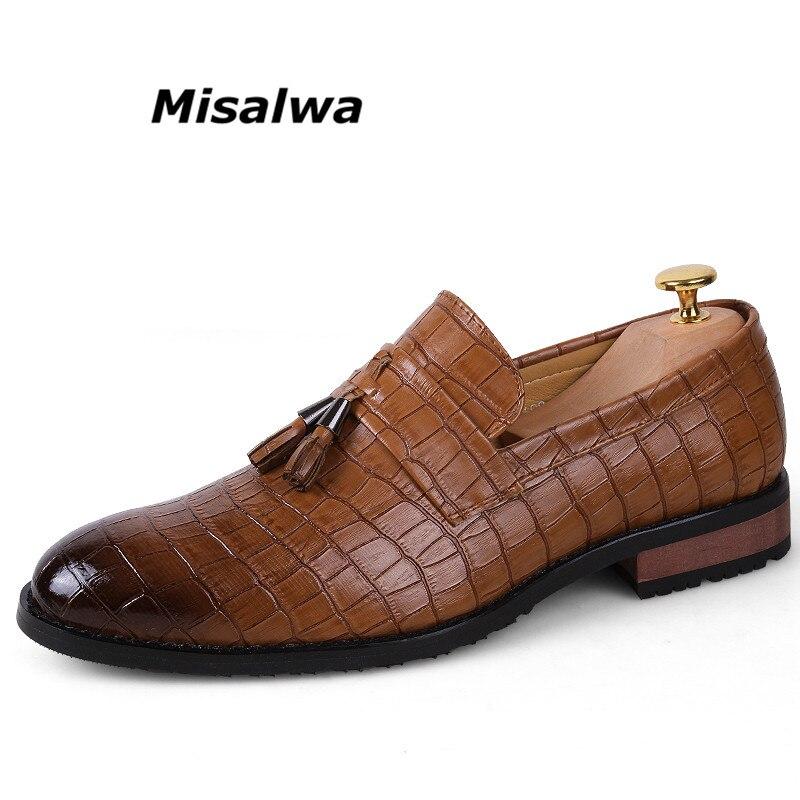 Misalwa 2018 New Fashion Casual Men Dress Shoes Tassel Leather Crocodile Shoes For Men Elegant Stylish Flat Oxfords Wedding Shoe