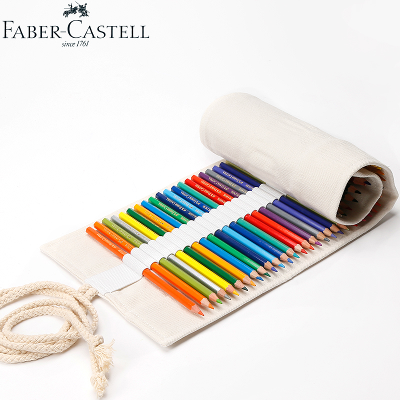 Faber-Castell Canvas School Pencil Case 50 Holes Roll Up Portable Pencil Bag School Supplies Material Escolar good quality 36 48 72 holes canvas pencil case roll up sketch painting pen box school office pencil stationery bag b066