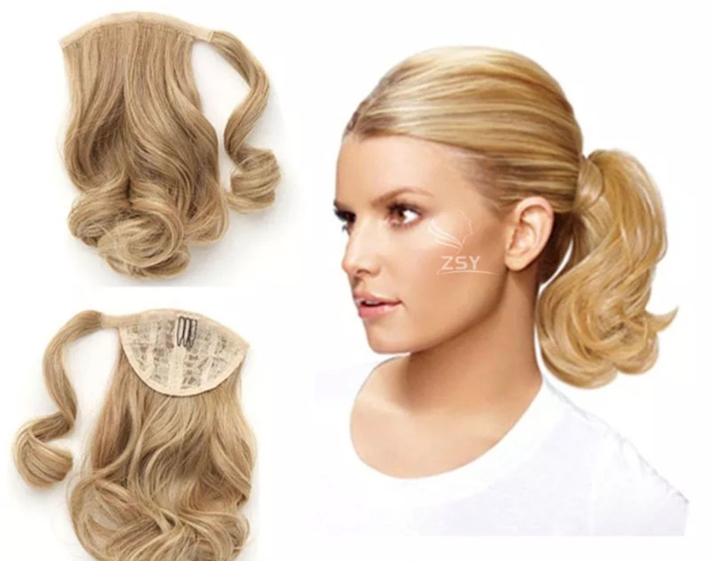 Short Curly wavy honey blonde wrap around ponytail