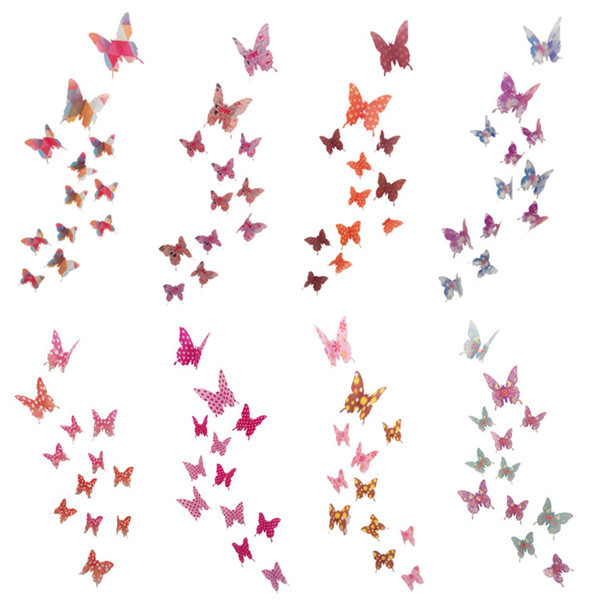 12pcs 3D Butterfly Wall Decor Art Waterproof Butterflies Wall Stickers Home Decor  Wall Sticker For Kids