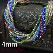 18 AB color 4mm 145PCS Bicone crystal beads Cut Faceted Round Glass Beads,bracelet necklace Jewelry Making DIY