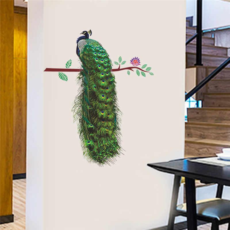 공작 꽃 지점 깃털 벽 스티커 거실 침실 데칼 pvc 벽화 아트 포스터 3d 생생한 동물 홈 인테리어