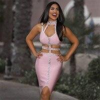 Hashupha Diamonds Sexy Club Solid Sleeveless Bodycon Mini Dress 2019 Winter New Arrival Fashion Elegant Pink Bandage Dresses