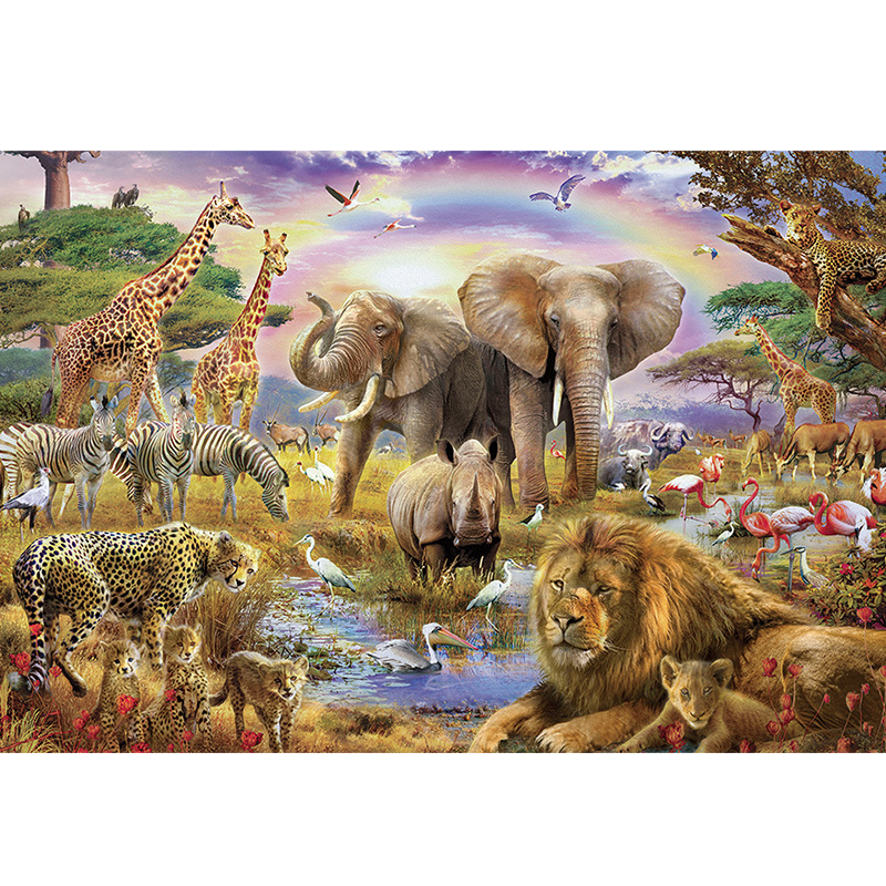1000 Pieces Elephant Lion Animal ParadisePuzzle New Arrival Puzzle 1000 Piece Animal Forest Wooden Educational Toy Decor elephant fire forest wall hanging tapestry