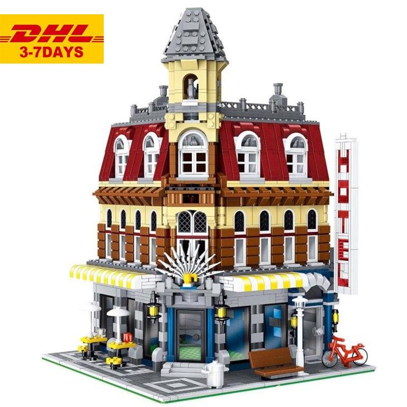 IN STOCK DHL 15002 84002 2133Pcs City Cafe Corner Model Building Kits Blocks Bricks Toys For