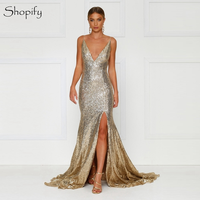 Sexy Long Gold Evening Dress 2018 Mermaid V Neck Spaghetti Strap