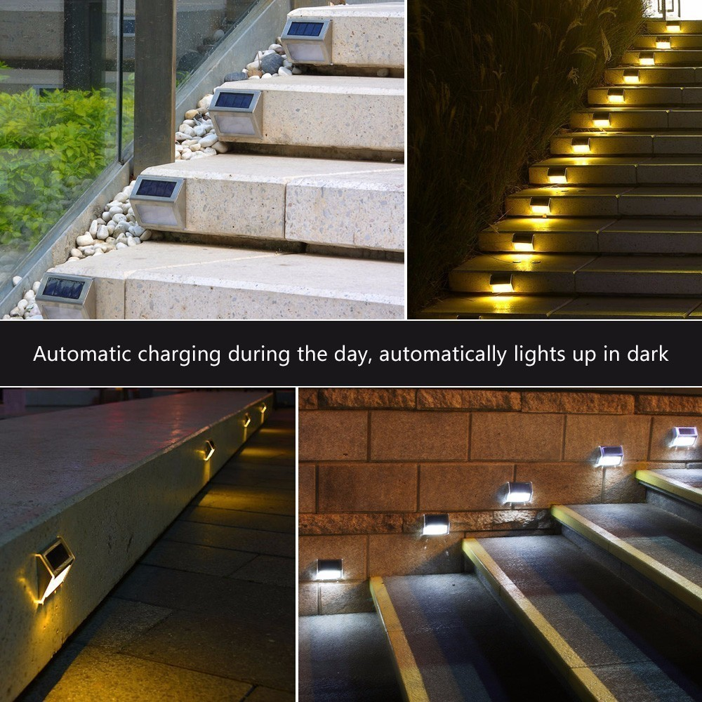 Solar Outdoor Patio Deck Lights: 10 Pieces LED Solar Powered Stair Lights Solar Step Lights