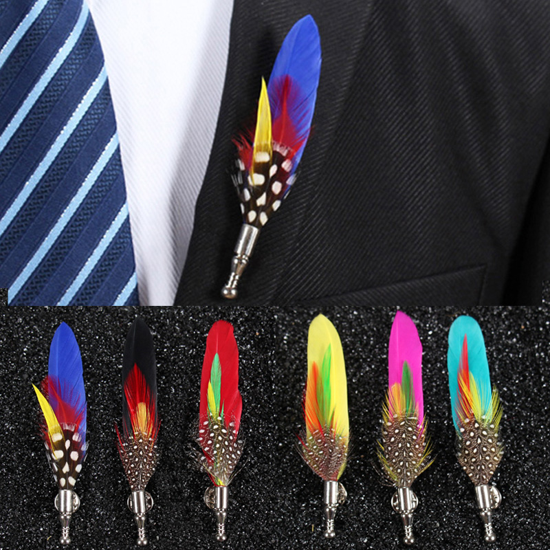 1 Piece Mens Feather Host Performance Brooch Pin lapel boutonniere spille donna hijab bouquet Jewelry Party