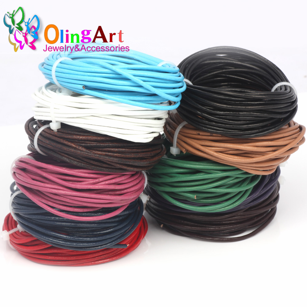 ✓OlingArt Leather Cords 3mm 10M Craft Round Mixed multicolor ...