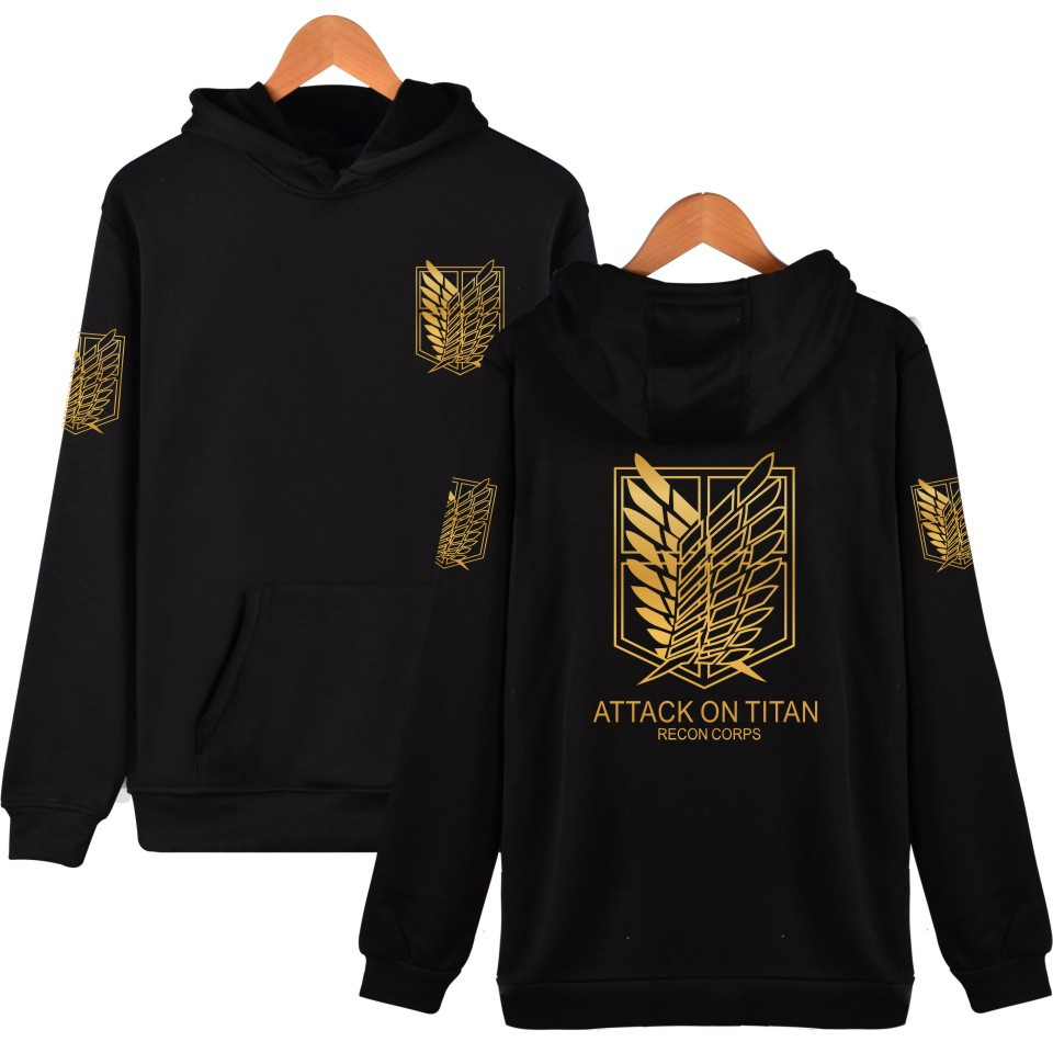 Hoodies Sweatshirt Cosplay Black Fashion-Style Casual Titan Print 6-Color Attack Choose