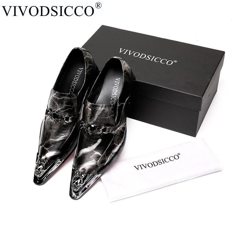VIVODSICCO Uomini Scarpe Da Sera Ombra in Vera pelle di Moda di Lusso Scarpe Da Sposo di Nozze Degli Uomini di Oxford scarpe di Metallo dita dei piedi slip-on scarpe