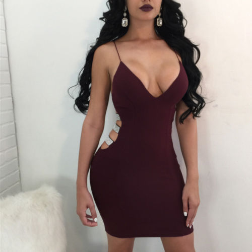 Women's Bandage Bodycon Sleeveless Hollow Out Dress Evening Party Club Short Mini Dress