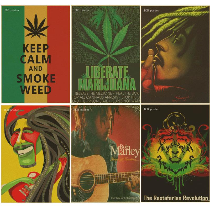 US $2 11 |Retro poster keep calm and smoke weed poster Bob marley/Jamaican  reggae kraft brown paper vintage posters bar room decor-in Wall Stickers