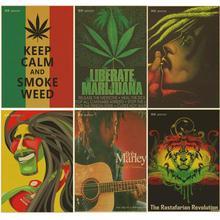Póster Retro Para mantener la calma y el humo, póster de hierba Bob marley/reggae jamaicano, Papel kraft marrón, pósteres vintage, decoración de bar o habitación