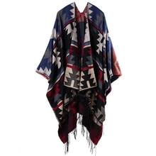 купить Bohemian Women's Autumn Winter Poncho Ethnic Scarf Fashion Print Blanket carves Lady Knit Shawl Tassel Cape Thicken Pashmina 051 по цене 979.41 рублей