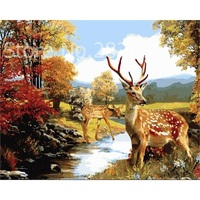 Riverside Deer Animal Art Frame Picture Painting By Numbers DIY Canvas Oil Painting Wall Art Home