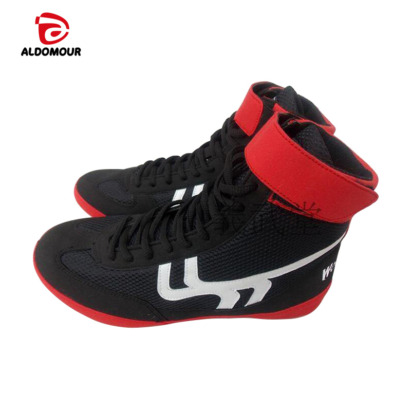 Aldomour Leather Wrestling Shoes High Boxing Shoes Rubber -5546