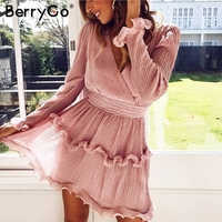 BerryGo women dresses Elegant pleated chiffon summer dress 2019 Long sleeve v neck ruffles white dresses mini dress vestidos