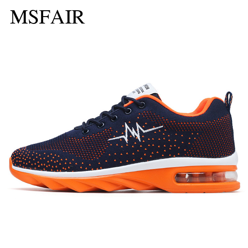 Msfair Men Running Shoes Breathable Mens Sneakers Super Light Sport Shoes For Men Knitting Sneakers Air cushion size 39-44