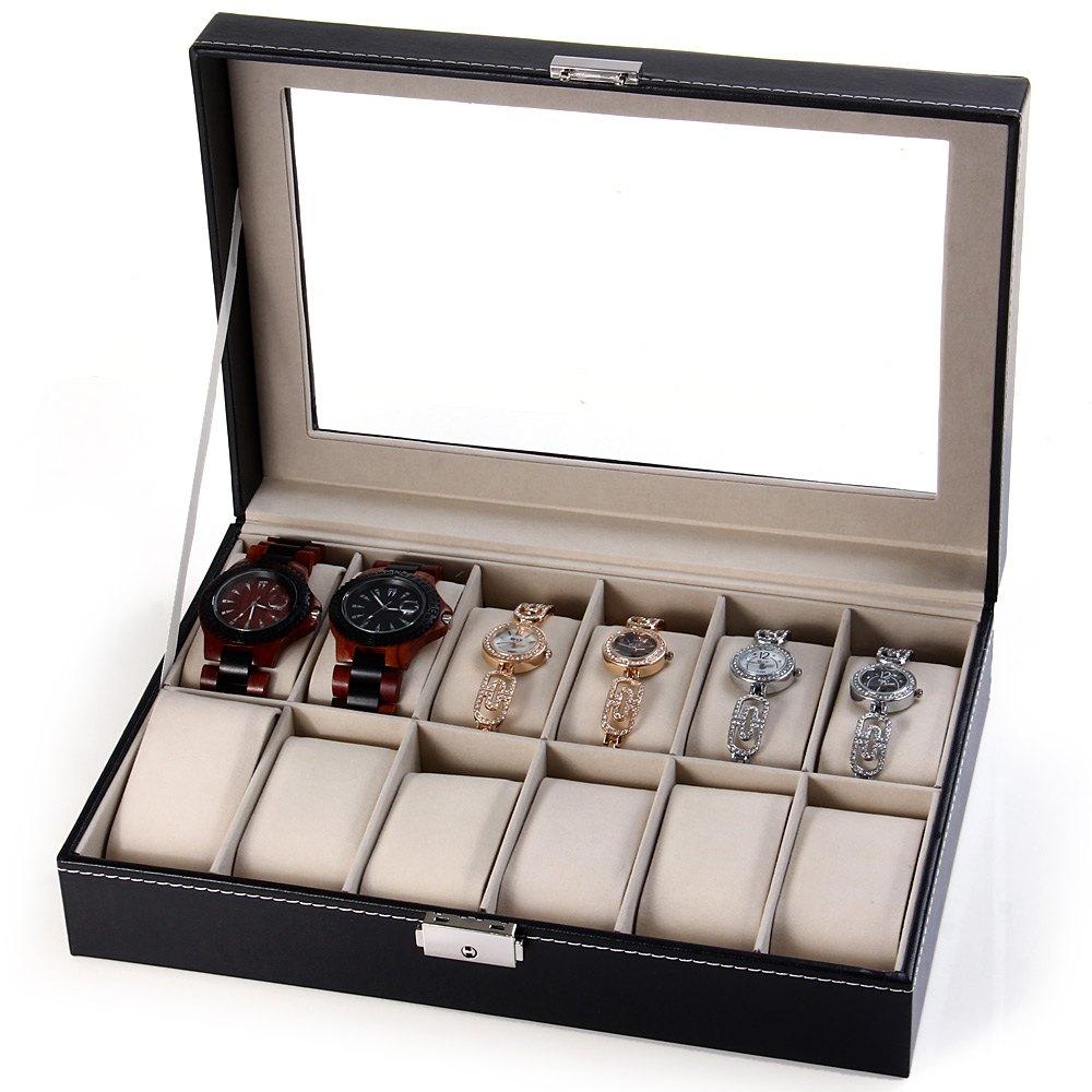 Prix pour Vente chaude Montre Élégante Boîte à Bijoux De Stockage Titulaire Organisée, 12 Grilles En Cuir PU Affichage Boîte Montre Cas cajas para relojes