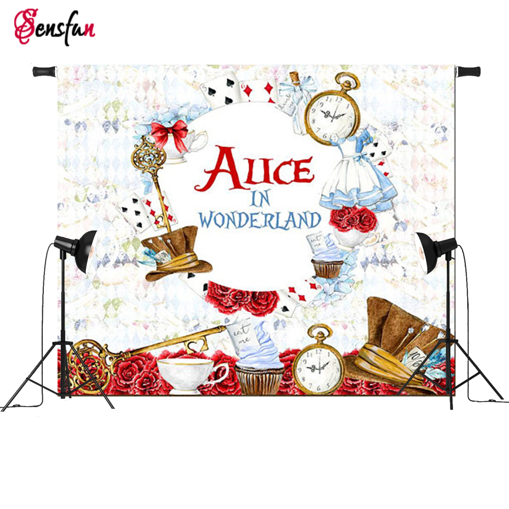 Vinyl Fabric Alice in Wonderland Games Party Custom Photo Backdrops Poker Children Photography Studio Background(China)