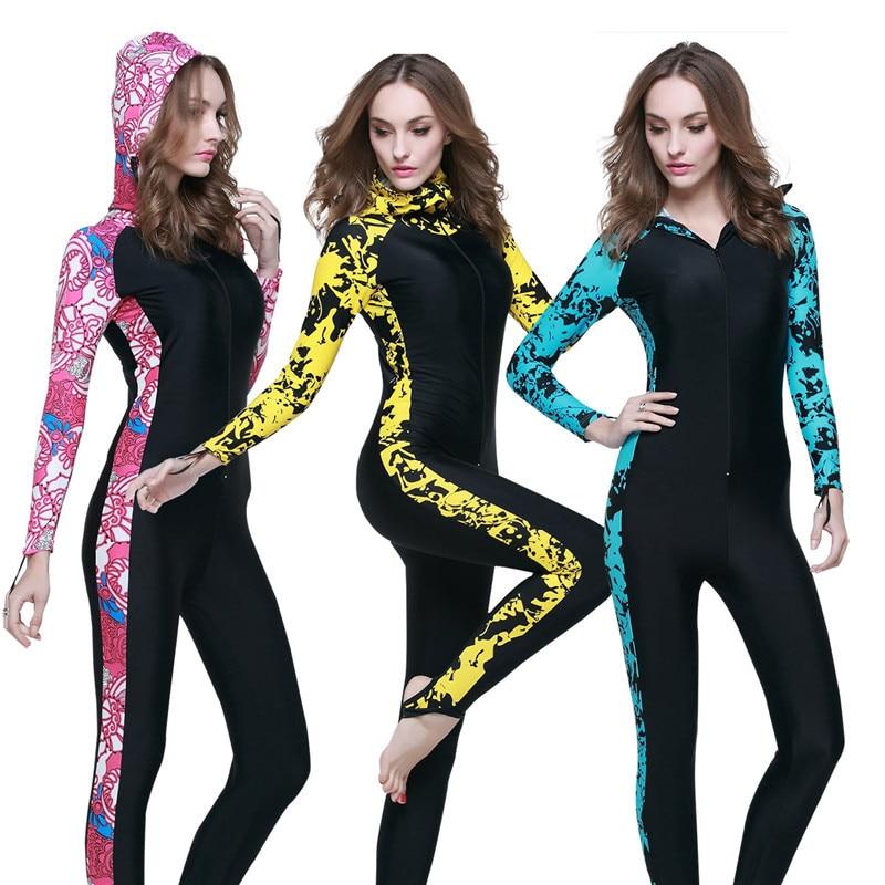 Womens Wetsuits Full Body Surf Scuba Diving Suit Anti-UV Sun Protection Swimwear