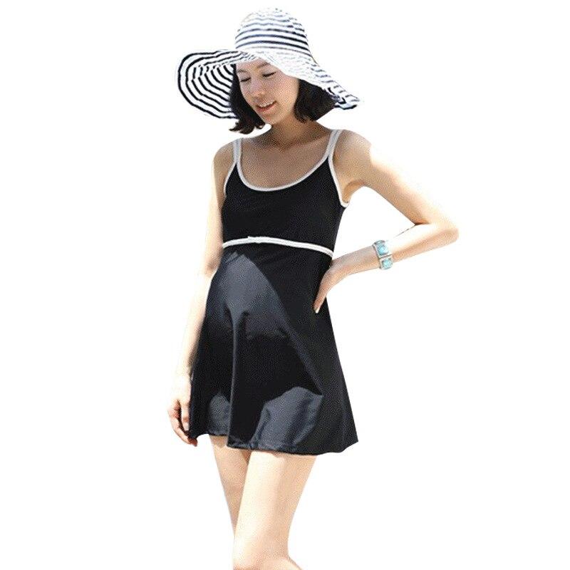 XL-5XL Summer Maternity Dress Swimwear Pregnant Women Swimsuit One Piece Plus Size Pure Color Pregnancy Beach Wear Bathing Suit