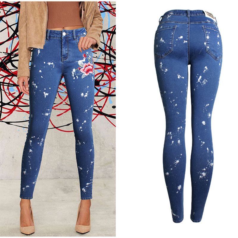 2017 Europe Vogue Womens Clothing Slim Denim Jeans Embroidered Stretch Dot Sprayed Pencil Pants Female Cotton Denim Feet Jeans