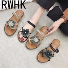 RWHK 2019 summer Korean fashion wild womens shoes flat open toe flower beach comfortable sandals B211