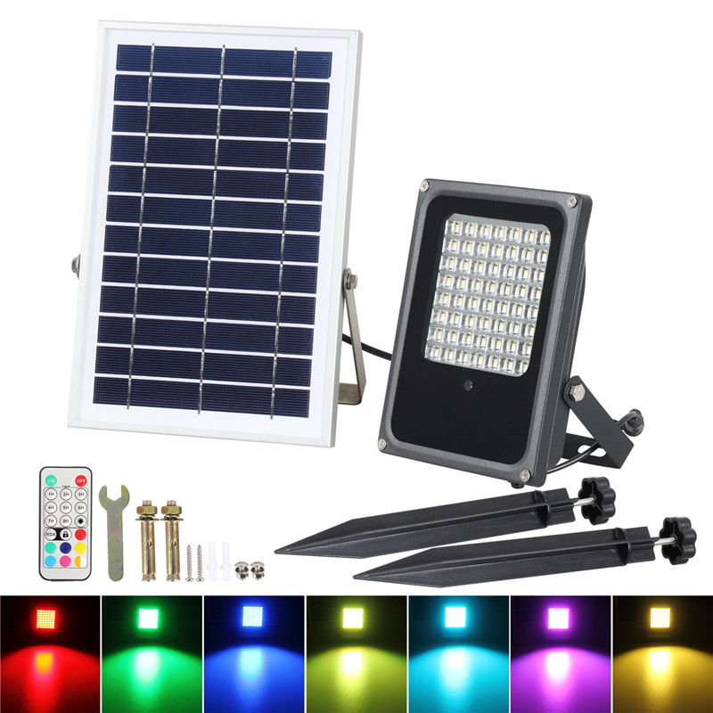 Solar Panel LED Landscape Garden Yard Path Lawn Spotlight 20 56LED Solar RGB Lamps Remote Control Outdoor Grounding Floodlight