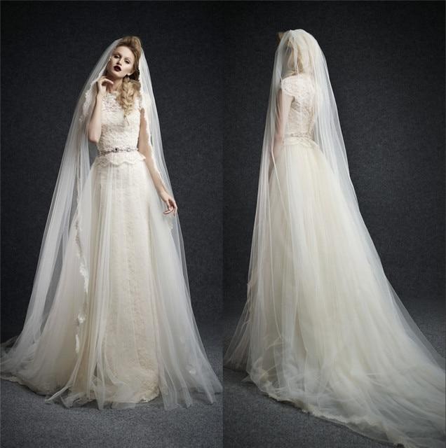 2016 New Arrival Ersa Atelier Wedding Dresses A Line High Neck Saudi