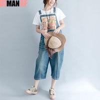 Plus Size Women Jumpsuits Denim Jeans Pattern Print Sleeveless Blue Hole Female Casual New Denim Wide