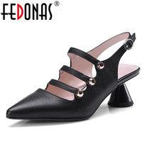 FEDONAS Retro High Quality Women Pumps Fashion New Genuine Leather Comfortable Square Heels Spring Summer Heels