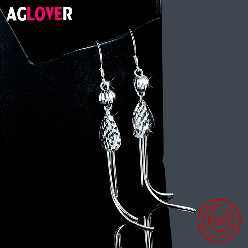 925 Sterling Silver Cuboid Drop Earrings Jewelry For Women 2018 New Year 39 s Gift Minimalist Art in Earrings from Jewelry amp Accessories
