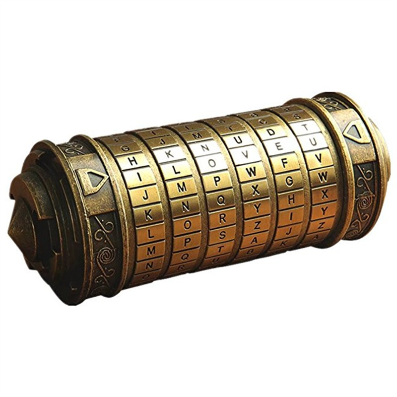 Brinquedos educativos cryptex fechaduras de metal da vinci código bloqueio casar amante do casamento letra senha bloqueio armazenamento decoração para casa