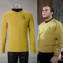 Cosplay estrelas tos a série original trek kirk camisa uniforme traje halloween traje amarelo