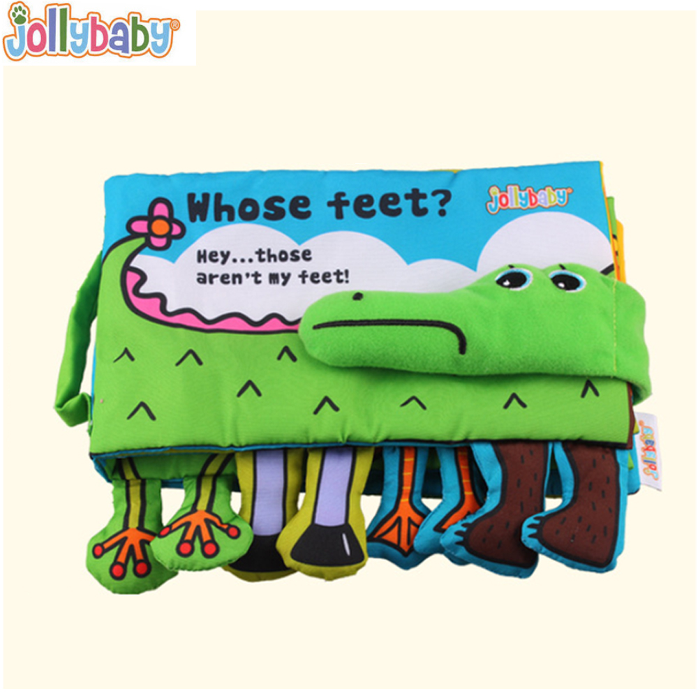 Jollybaby Cloth Books Soft Newborn Baby Toys Cute Cartoon Animal Crocodile Toddlers Infant Development Children Educational Toy newborn baby bath toy cute cartoon animal water thermometer duck bear pig crocodile cow kids temperature tester bathroom toys