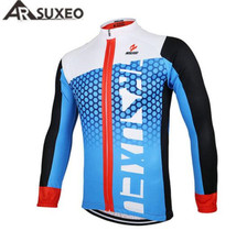 цена на ARSUXEO Men Cycling Jersey Bike Bicycle Long Sleeves Cycle Wear Clothing Outdoor Sports Breathable Mountain Bike MTB Shirts Top