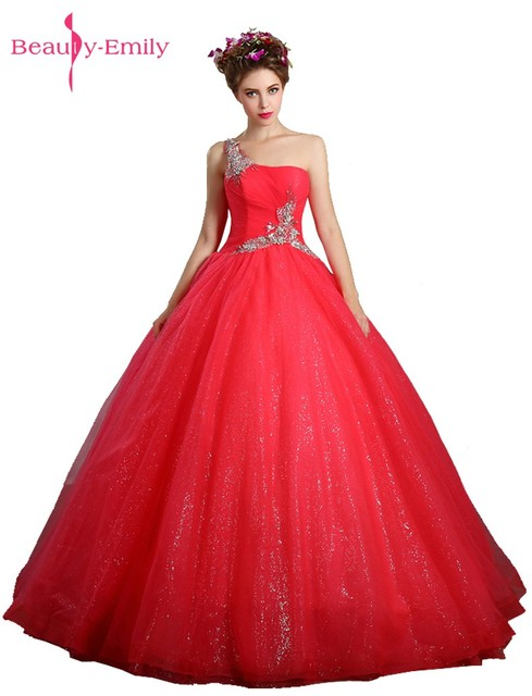 Beauty-Emily Beads Lace Ball Gown Rose Red Wedding Dresses 2017 One  Shoulder Bridal Dresses Backless Wedding Party Dresses 17ea284f8e8c