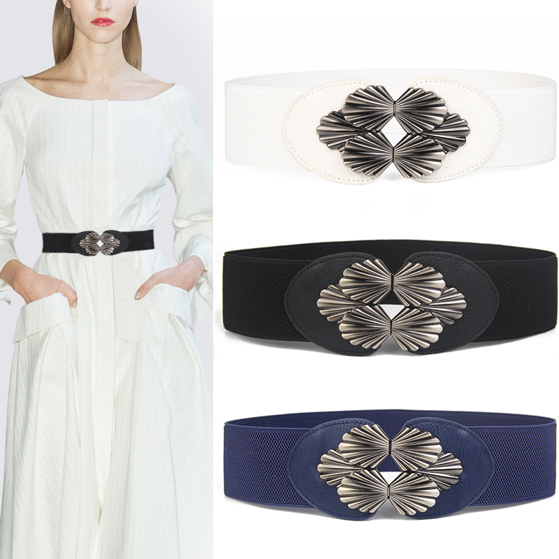 Trendy Corset Belt Women's Elastic Waistband Black Metal Buckle Stretch Waist Wide Cinch White Cummerbunds Faux Leather Dress
