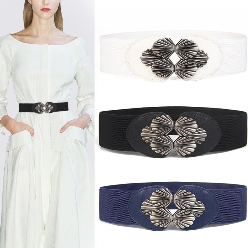 Trendy Corset Belt Women's Elastic Waistband Black Metal Buckle Stretch Waist Wide Cinch White Cummerbunds Faux Leather Dress