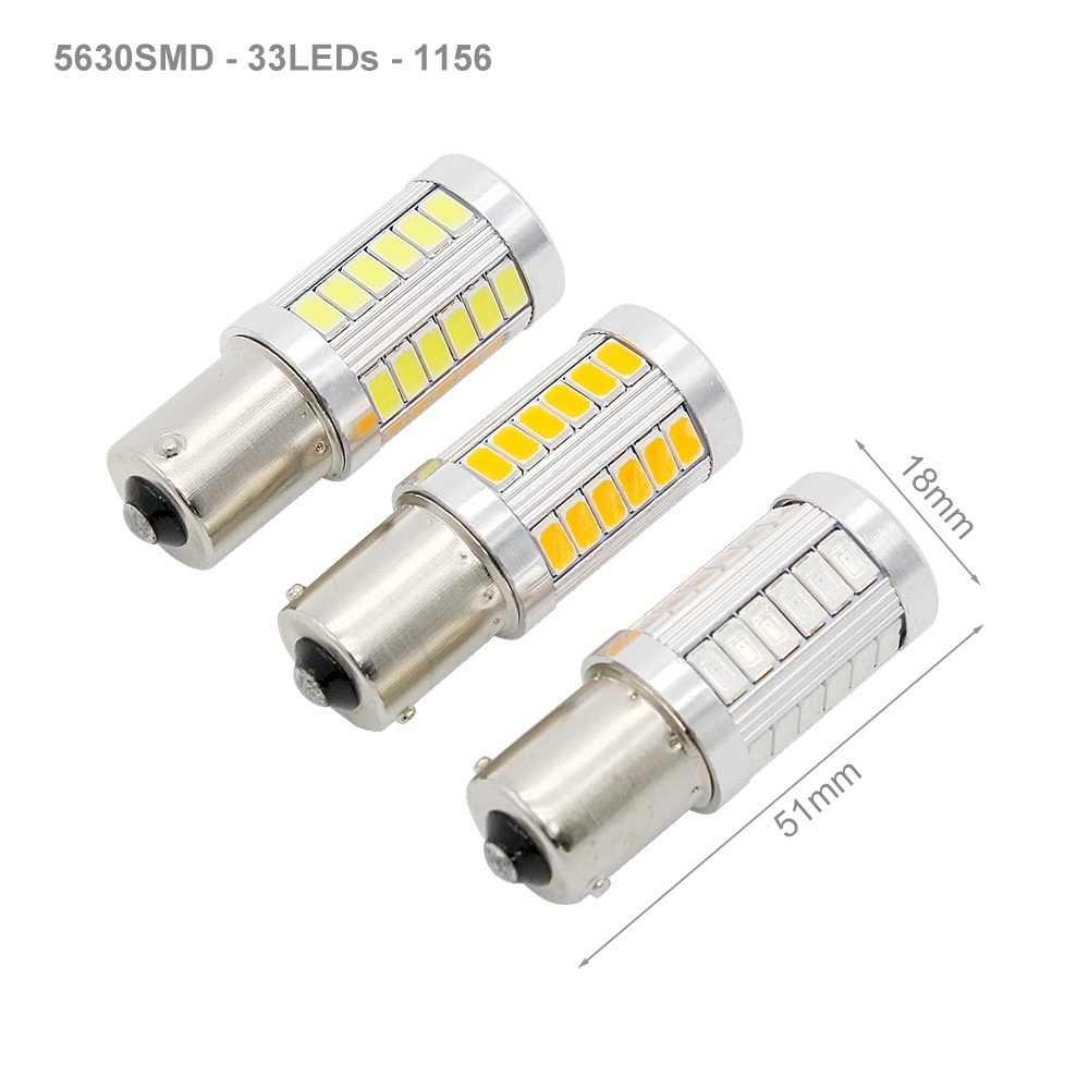 1 Uds 1156 1157 7440 T20 luz LED de giro para coche 33 SMD 5630 5730 luz trasera de frenos para coche bombilla de señal inversa 12V luces DRL