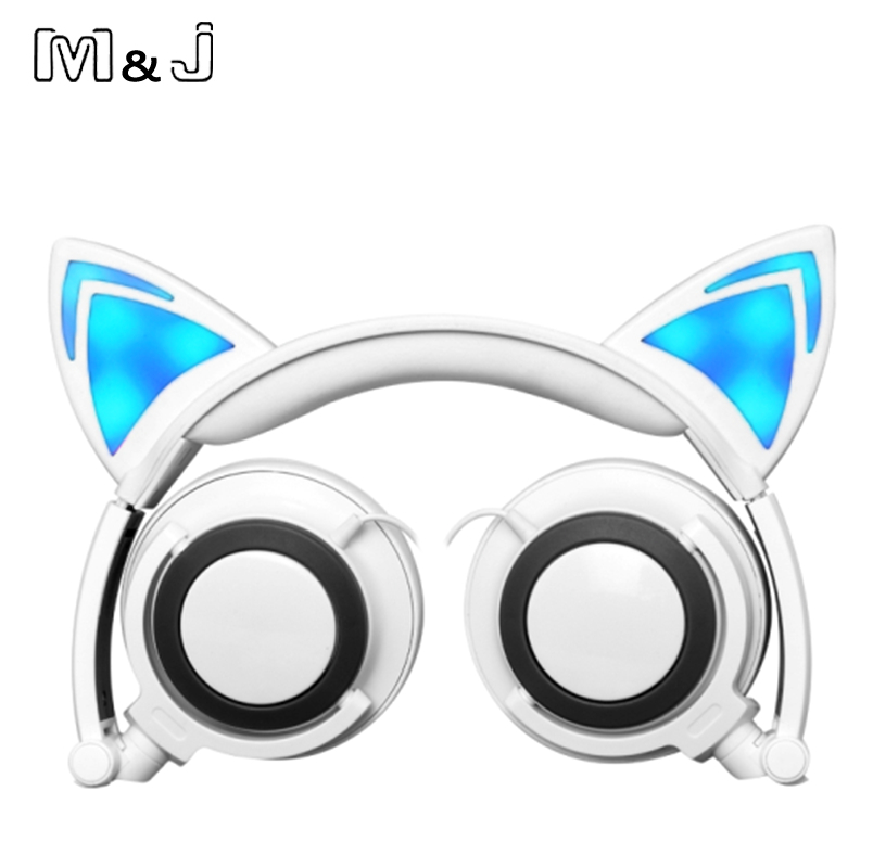 M&J Foldable Luminous Flashing Glowing Cat Ear Headphone Gaming Headset With LED Light For PC Laptop Computer Mobile Phones Gift foldable cat ear headphones gaming headset earphone with glowing led light for phone computer best halloween gift for girls kids