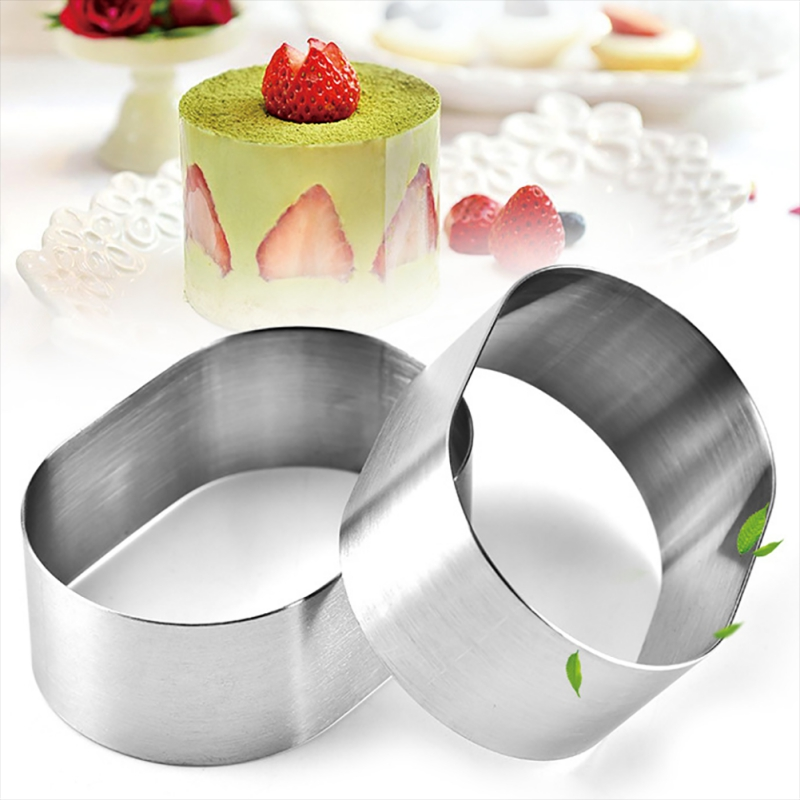 12PCS Household <font><b>Stainless</b></font> <font><b>Steel</b></font> Oval <font><b>Cheese</b></font> <font><b>Mold</b></font> Mousse Cake Ring DIY Cake Cutting <font><b>Mold</b></font> Baking Moulds Kitchen Dessert Cake Tool image