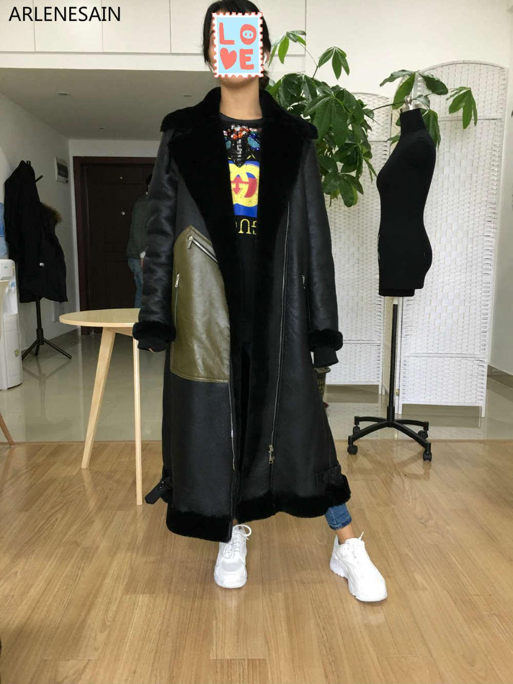 Arlene Sain su ordinazione delle donne Merino pecora tosata pelliccia di lana un davvero lungo locomotiva cappotto femminile cappotto di pelliccia di trasporto libero 019