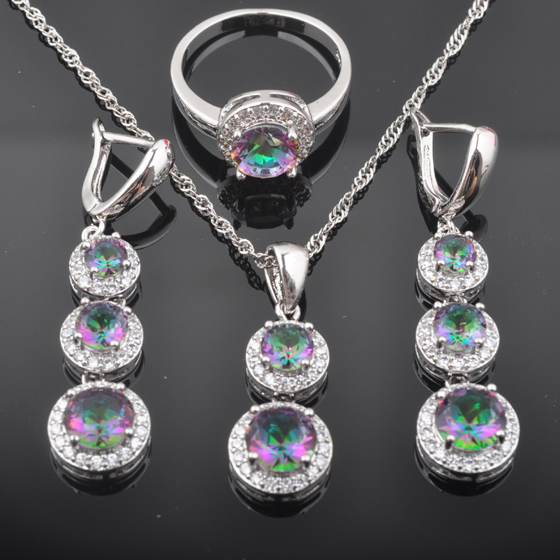 FAHOYO Noble Multicolor Rainbow Zirconia Womens 925 Sterling Silver Jewelry Sets Earrings/Pendant/Necklace/Rings QZ0495