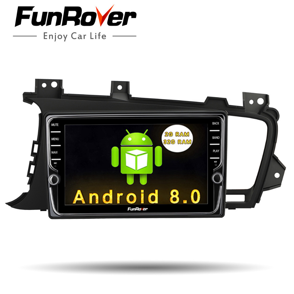 Funrover Car Radio Multimedia DVD Android 8.0 IPS Navigation headunit For Kia K5 Optima 2011-15 Navi Audio Stereos RDS GPS WIFI