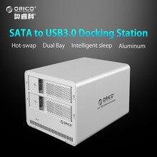 ORICO 9528U3 2-bay USB3.0 Aluminum 3.5» External SATA HDD SSD Enclosure Sliver Box Support 8TB Storage EU Plug (No Hard Disk)