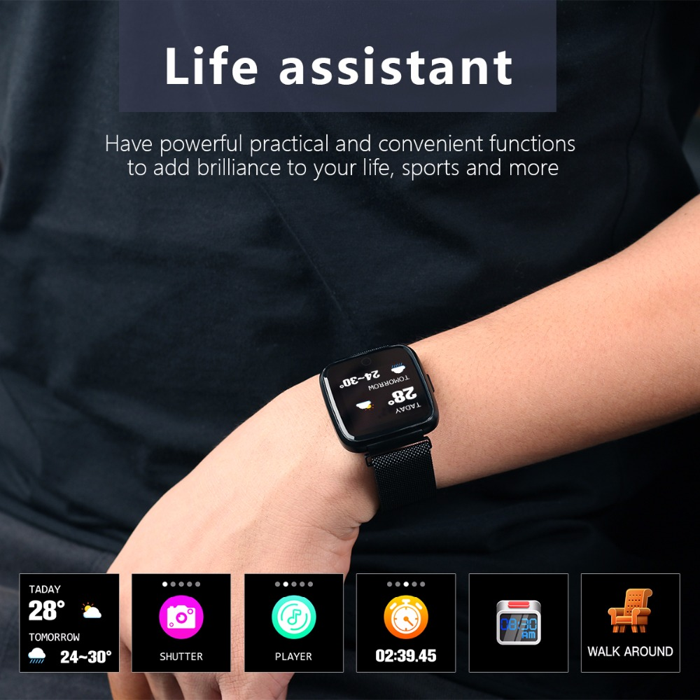 Y7 Milanese Steel Smart Watch Men 1 3 inch Brightness HR Blood Pressure Oxygen Smart Bracelet Sport Women Smartwatch in Smart Watches from Consumer Electronics